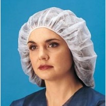 "Keystone 24"" Bouffant Cap - Polypropylene - 100% Latex Free - White - 1,000 / Case"