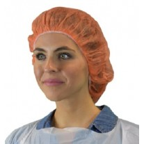 "Keystone 21"" Bouffant Cap - Polypropylene - 100% Latex Free - Orange - 1,000 / Case"