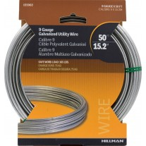 Hillman 122062 Galvanized Solid Wire - 9 Gauge - 50 Ft (LIMITED AVAILABILITY)