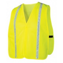 Pyramex RV110 Hi Vis Yellow Safety Vest - Universal Fit - With Reflective Tape - Non-Rated