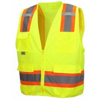 Pyramex RVZ2410SE Hi Vis Yellow Surveyor Safety Vest - Non-FR Self Extinguishing - Type R - Class 2