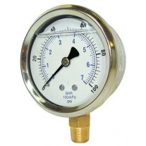 "PIC Gauge 201L-404, 4"" Dial, Glycerine Filled, 1/4"" Lower Mount Conn., Stainless Steel Case and Bezel, Brass Internals"
