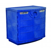 Justrite 24180 Polyethylene corrosives and acid cabinet, holds thirty-six 2-1/2 L bottles, 2 door, blue