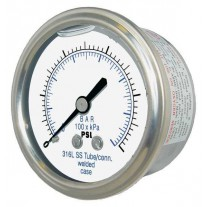 "PIC Gauge 302LFW-158, 1-1/2"" Dial, Glycerine Filled, 1/8"" Center Back Mount Conn., Stainless Steel Case, 316 Stainless Steel Internals"