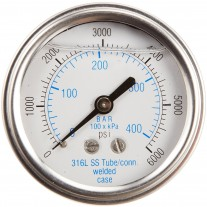 """PIC Gauge 303LFW-254, 2-1/2"""" Dial, Glycerine Filled, 1/4"""" Center Back Mount w/ U-Clamp Conn., Stainless Steel Case, 316 Stainless Steel Internals"""