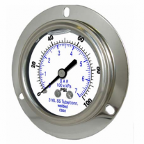 "PIC Gauge 304LFW-254, 2-1/2"" Dial, Glycerine Filled, 1/4"" Center Back Mount w/ Front Flange Conn., Stainless Steel Case, 316 Stainless Steel Internals"