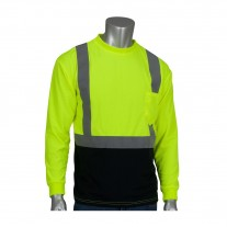 PIP 312-1350B Black Bottom Class 2 Wicking Safety Shirt Long Sleeve w/ 50+ UV Protection - Hi Vis Yellow - (CLOSEOUT)