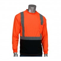 PIP 312-1350B Black Bottom Class 2 Wicking Safety Shirt Long Sleeve w/ 50+ UV Protection, Hi Vis Orange