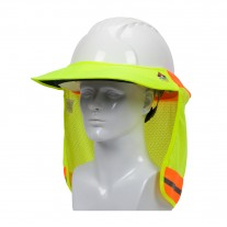 PIP 396-801FR Hi-Vis Yellow EZ-Cool Hard Hat Visor & Neck Shade FR Treated Elastic Back Reflective Tape, Use on Brim Hard Hats