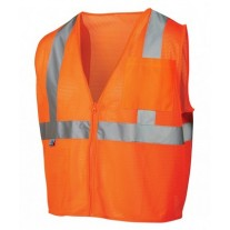 Pyramex RVZ2120SE Hi Vis Orange Safety Vest - Non-FR Self Extinguishing - Type R - Class 2