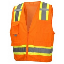 Pyramex RVZ2420SE Hi Vis Orange Surveyor Safet Vest - Non-FR Self Extinguishing - Type R - Class 2