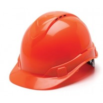 Pyramex HP44141V Ridgeline Vented Hard Hat - Cap Style - 4 Pt Ratchet Suspension - Hi Vis Orange
