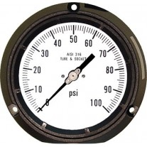 """PIC Gauge 4502 Series, 4-1/2"""" Dial, Solid Front/Blow-Out Back Safety Case, Lower Back Mount, Liquid Fillable, Phenolic Case, 316 Stainless Steel Internals"""