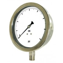 "PIC Gauge 6001-2L, Heavy Duty, 6"" Dial, 1/2"" Lower Mount Conn., Stainless Steel Case, 316 Stainless Steel Internals"