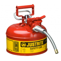 """Justrite 7210120 Type II AccuFlow Steel Safety Can For Oil,1 Gallon,5/8"""" Metal Hose"""