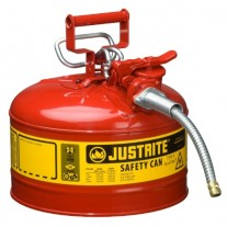 """Justrite 7225120 Type II AccuFlow Steel Safety Can For Oil, 2.5 Gallon,5/8"""" Metal Hose"""