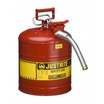 """Justrite 7250130 Type II AccuFlow Steel Safety Can for flammables, 5 gallon, 1"""" metal hose, Red"""