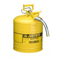 """Justrite 7250230 Type II AccuFlow Steel Safety Can for Diesel, 5 gallon, 1"""" metal hose, Yellow"""