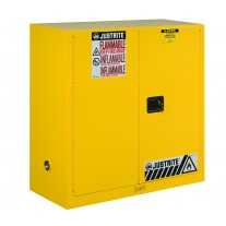 Justrite 893000 Sure-Grip EX Flammable Safety Cabinet - Cap. 30 gal., 1 shelf, 2 m/c doors - Yellow