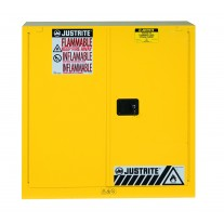 Justrite 893020 Sure-Grip EX Flammable Safety Cabinet, Cap. 30 gallons, 1 shelf, 2 self-close doors, Yellow