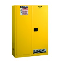 Justrite 894500 Sure-Grip EX Flammable Safety Cabinet, Cap. 45 gallons, 2 shelves, 2 manual-close doors, Yellow