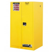 Justrite 896000 Sure-Grip EX Flammable Safety Cabinet, Cap. 60 gallons, 2 shelves, 2 manual-close doors, Yellow