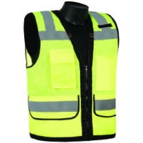 Liberty C16032G Surveyor Safety Vest Hi Vis Lime/Yellow With Black Trim, Type R - Class 2, With Reflective Tape