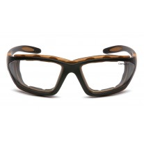 Carhartt CHB410DTP Carthage Safety Glasses - Black / Tan Frame - Clear Anti-Fog Lens