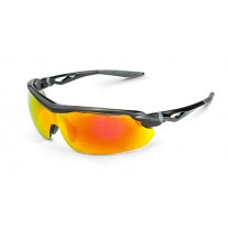 Crossfire CIRRUS Safety Glasses Red Mirror Lens and Shiny Black Frame