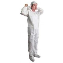Keystone Keyguard White Coverall - Elastic Wrists and Ankles - Attached Hood - Zipper Front - 25 Pack