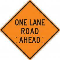 """36"""" x 36"""" Mesh Vinyl Roll-Up Construction Sign: One Lane Road Ahead"""