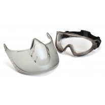Pyramex GG504DTSHIELD Capstone Goggle - Gray Frame - Clear H2X Anti-Fog Dual Lens with Face Shield Attachment