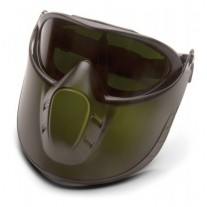 Pyramex Capstone Goggle - 5.0 IR Filter Anti-Fog Lens with Green Tinted Face Shield Attachment