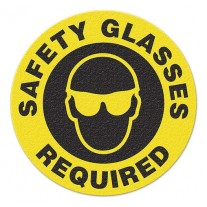 SAFETY GLASSES REQUIRED Safety Floor Graphic, Anti-Slip