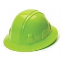 Pyramex HP24131 SL Series Hard Hat - Full Brim - 4Pt Ratchet Suspension - Hi Vis Lime