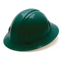 Pyramex SL Series Full Brim Hard Hat, 6Pt Ratchet Suspension, Green, HP26135