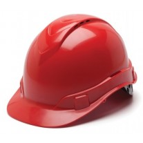 Pyramex HP44120V Ridgeline Vented Hard Hat - Cap Style - 4 Pt Ratchet Suspension - Red
