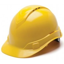 Pyramex HP44130V Ridgeline Vented Hard Hat - Cap Style - 4 Pt Ratchet Suspension - Yellow