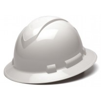 Pyramex Ridgeline Full Brim Hard Hat, 4Pt Ratchet Suspension, White, HP54110