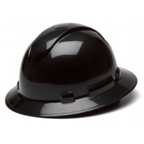 Pyramex Ridgeline Full Brim Hard Hat, 4Pt Ratchet Suspension, Black, HP54111
