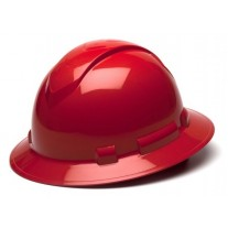 Pyramex Ridgeline Full Brim Hard Hat, 4Pt Ratchet Suspension, Red, HP54120