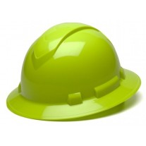 Pyramex Ridgeline Full Brim Hard Hat, 4Pt Ratchet Suspension, Hi Vis Lime, HP54131