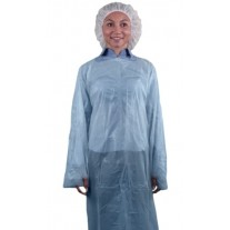 "Keystone 55"" Disposable Blue Isolation Gown - Rear Entry w/ Attached Ties and Thumb Loops - 100 Case"