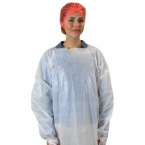 "Keystone 55"" Disposable White Isolation Gown - Rear Entry w/ Attached Ties and Thumb Loops - 100 Case"