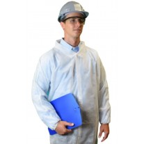 Keystone White Disposable Lab Coat - No Pockets - Elastic Wrists - Velcro Front - Single Collar - 30 Pack