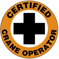 "Certified Crane Operator Hard Hat Sticker, 2-1/4"", 10/Pk"