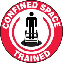"Confined Space Trained Hard Hat Sticker, 2-1/4"", 10/Pk"