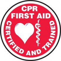 """CPR/First Aid Certified And Trained Hard Hat Sticker, 2-1/4"""", 10/Pk"""