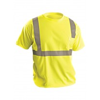 OccuNomix LUX-SSETP2B Hi Vis Yellow Classic Standard Wicking Birdseye Safety Shirt - Type R - Class 2 - Large - (CLOSEOUT - LIMITED STOCK AVAILABLE)