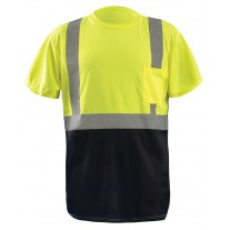 OccuNomix LUX-SSETPBK Class 2 Hi Vis Yellow Classic Black Bottom T-Shirt - Type R - Class 2 - (CLOSEOUT - LIMITED STOCK AVAILABLE)